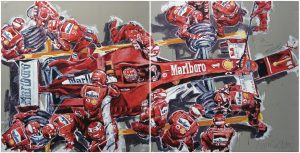 A painting titled Michael Schumacher
