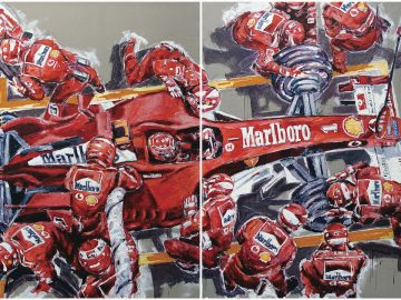 Artist Armin Flossdorf with his painting titled Michael Schumacher