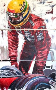 Artist Armin Flossdorf with his painting dedicated to Ayrton Senna