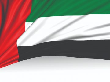 Country flag with 4 colour stripes. Re, Green, White and Black