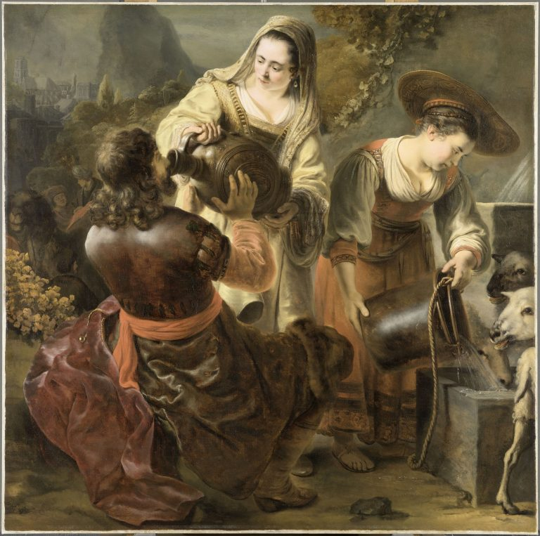 A painting showing a women giving a drink to a man through an urn and another woman giving water to white lambs