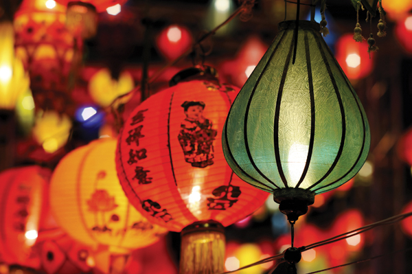 Colorful Paper Lanterns with Chinese Writing and Drawings on it