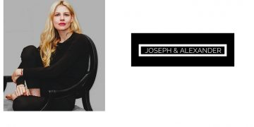 An image in two frames with a blonde lasy in black clothes sitting on a black chair in the left frame and a logo with text Joseph & Alexander on the right frame