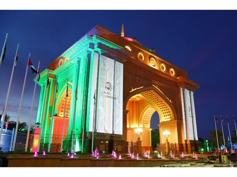 Emirates Palace lights up for the Celebrations.